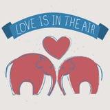 Vector el ejemplo dibujado mano de una tarjeta con los elefantes y la muestra Imagen de archivo libre de regalías