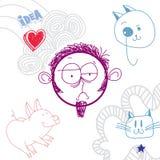 Vector el ejemplo dibujado mano del arte de la personalidad, emociones tristes Foto de archivo
