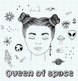 Vector el ejemplo dibujado mano del bosquejo de la muchacha surrealista que sueña sobre el cosmos con los ojos cerrados, etiqueta ilustración del vector