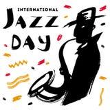 Vector el ejemplo dibujado mano para el día internacional del jazz con las letras, los puntos del color y el hombre expresivos de ilustración del vector