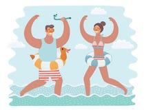 Vector el ejemplo divertido de la historieta del hombre y de la mujer que corren junto en el agua ilustración del vector