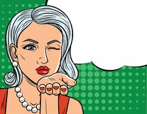 Vector el ejemplo en estilo cómico del arte de la mujer bonita con el guiño del ojo Imagenes de archivo