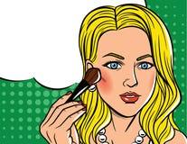 Vector el ejemplo en estilo cómico del arte de la mujer bonita con se ruborizan cepillo Fotos de archivo