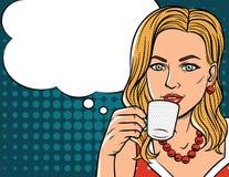 Vector el ejemplo en estilo cómico del arte de la mujer bonita con la taza de café Foto de archivo