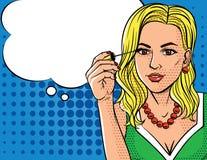 Vector el ejemplo en estilo del arte pop del maquillaje que hace para mujer Foto de archivo libre de regalías