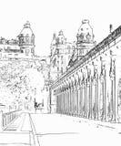 Vector el ejemplo, en estilo del bosquejo, de Pont de Bir-Hakeim - París, Francia stock de ilustración