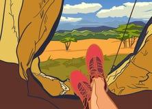 Vector el ejemplo en la naturaleza de África, safari, mediodía en sabana, caza, acampando, viaje de los temas Deportes, al aire l Imágenes de archivo libres de regalías