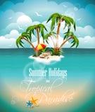 Vector el ejemplo en un tema de las vacaciones de verano con la isla del paraíso. libre illustration