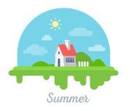 Vector el ejemplo estacional de la casa hermosa con la chimenea y ilustración del vector