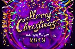 Vector el ejemplo festivo colorido para el fondo violeta celebrador del partido y de la decoración - Feliz Navidad de oro y nuevo libre illustration