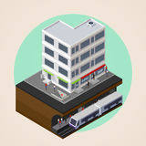 Vector el ejemplo isométrico 3d de la calle de la ciudad, edificio y metro, subterráneo o estación del metro sistema de transport ilustración del vector