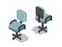 Vector el ejemplo isométrico de la silla de la oficina, icono plano de los muebles 3d stock de ilustración
