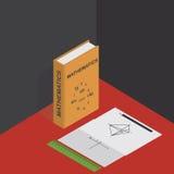 Vector el ejemplo isométrico con los gráficos, la regla, el lápiz y el libro de texto de la matemáticas en matemáticas Fotografía de archivo