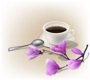 Vector el ejemplo, la taza de café express del café y una rama de la magnolia Foto de archivo libre de regalías