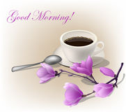 Vector el ejemplo, la taza de café express del coffe y una rama de la magnolia Buena mañana de Wods Foto de archivo