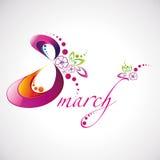 Vector el ejemplo las mujeres día del logotipo hermoso del 8 de marzo para su diseño Imagen de archivo