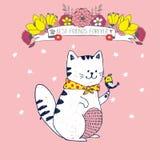 Vector el ejemplo lindo de la postal rosada linda con el gato blanco, el pequeño pájaro, la cinta, las flores, las estrellas y la Fotografía de archivo libre de regalías