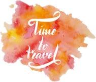 Vector el ejemplo, mano dibujada poniendo letras a hora de viajar Imagen de archivo