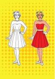 Vector el ejemplo para colorear a una mujer del vintage en un vestido hermoso Fotografía de archivo