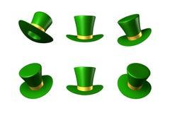 Vector el ejemplo para el día del ` s de St Patrick - sombrero verde con un cilindro de la cinta del oro Imagen de archivo