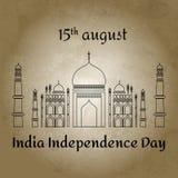 Vector el ejemplo para el día de 15 August Indian Independence en estilo plano en fondo retro Icono indio famoso de la mezquita T Imágenes de archivo libres de regalías