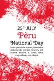Vector el ejemplo Peru National Day, bandera peruana en estilo de moda del grunge 28 de julio plantilla del diseño para el cartel Foto de archivo