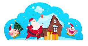 Vector el ejemplo plano de la Feliz Navidad con Santa Claus, caja de regalo, cerdo lindo que el duende lleva el árbol de abeto ad Stock de ilustración