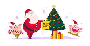 Vector el ejemplo plano de la Feliz Navidad con Santa Claus, duende lindo del cerdo, caja de regalo en el árbol de abeto adornado ilustración del vector