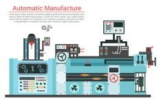 Vector el ejemplo plano de la máquina compleja de la ingeniería con la bomba, tubo, cable, rueda del diente, transformación, gira Fotos de archivo libres de regalías