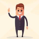 Vector el ejemplo plano del diseño El agitar del hombre de negocios Onda del carácter del encargado su mano Foto de archivo