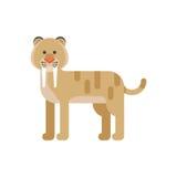 Vector el ejemplo plano del estilo del animal prehistórico - tigre sable-dentado ilustración del vector