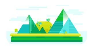 Vector el ejemplo plano del paisaje de la naturaleza con los mounties en el estilo lindo simple, concepto al aire libre Fotografía de archivo