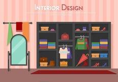 Vector el ejemplo plano del sitio, con el guardarropa, el espejo con las toallas, estante en el piso, parket con la manta de la a Imagen de archivo libre de regalías