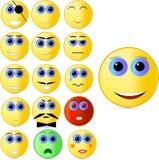 Vector el ejemplo que consiste en dieciséis diversos emoticons que representan diversas emociones stock de ilustración