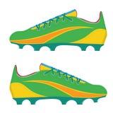 Vector el ejemplo que las botas de un fútbol del fútbol aislaron en un fondo blanco Imagen de archivo