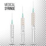 Vector el ejemplo realista aislado jeringuilla médica plástica 3d stock de ilustración