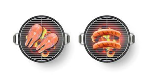 Vector el ejemplo realista 3d de la parrilla de la barbacoa con la salchicha y el filete de color salmón asados a la parrilla Ico Foto de archivo libre de regalías