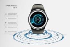 Vector el ejemplo realista del reloj elegante del concepto, de las funciones de la tecnolog?a y del texto de la plantilla libre illustration