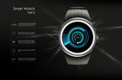 Vector el ejemplo realista del reloj elegante, de las funciones de la tecnolog?a y del texto de la plantilla ilustración del vector