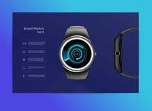 Vector el ejemplo realista del reloj elegante, de las funciones de la tecnolog?a y del texto de la plantilla libre illustration