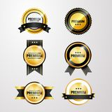 Vector el ejemplo, sistema de etiquetas de oro chispeantes de la calidad superior Imágenes de archivo libres de regalías