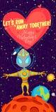 Vector el ejemplo sobre el espacio exterior para el día de tarjetas del día de San Valentín Foto de archivo libre de regalías