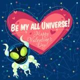 Vector el ejemplo sobre el espacio exterior para el día de tarjetas del día de San Valentín Foto de archivo
