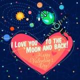 Vector el ejemplo sobre el espacio exterior para el día de tarjetas del día de San Valentín Fotos de archivo