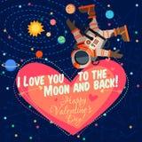 Vector el ejemplo sobre el espacio exterior para el día de tarjetas del día de San Valentín Fotografía de archivo libre de regalías