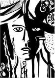 Vector el ejemplo surrealista y de la fantasía con una cara de la mujer, soldado, una botella, plantas, un teléfono libre illustration