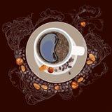 Vector el ejemplo, taza de café, en una placa Humo blanco, granos de café, nueces en un fondo del marrón oscuro Fotos de archivo