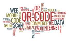 Ejemplo de la nube de la palabra del código de QR Fotografía de archivo