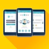 Vector el ejemplo UI, UX, pantallas móviles del diseño del app del concepto del GUI stock de ilustración