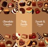 Vector el ejemplo vertical de las banderas con los caramelos de chocolate de la historieta stock de ilustración
